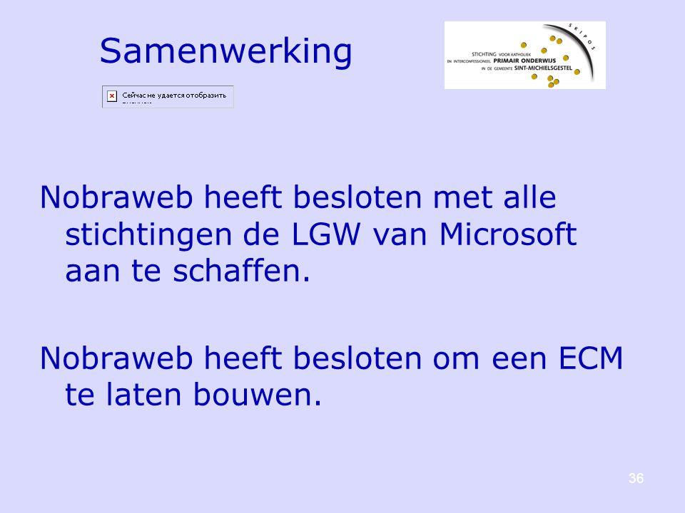 Samenwerking Nobraweb heeft besloten met alle stichtingen de LGW van Microsoft aan te schaffen.