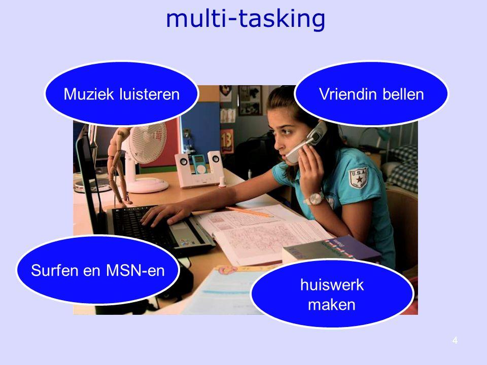 4 Muziek luisterenVriendin bellen huiswerk maken Surfen en MSN-en multi-tasking