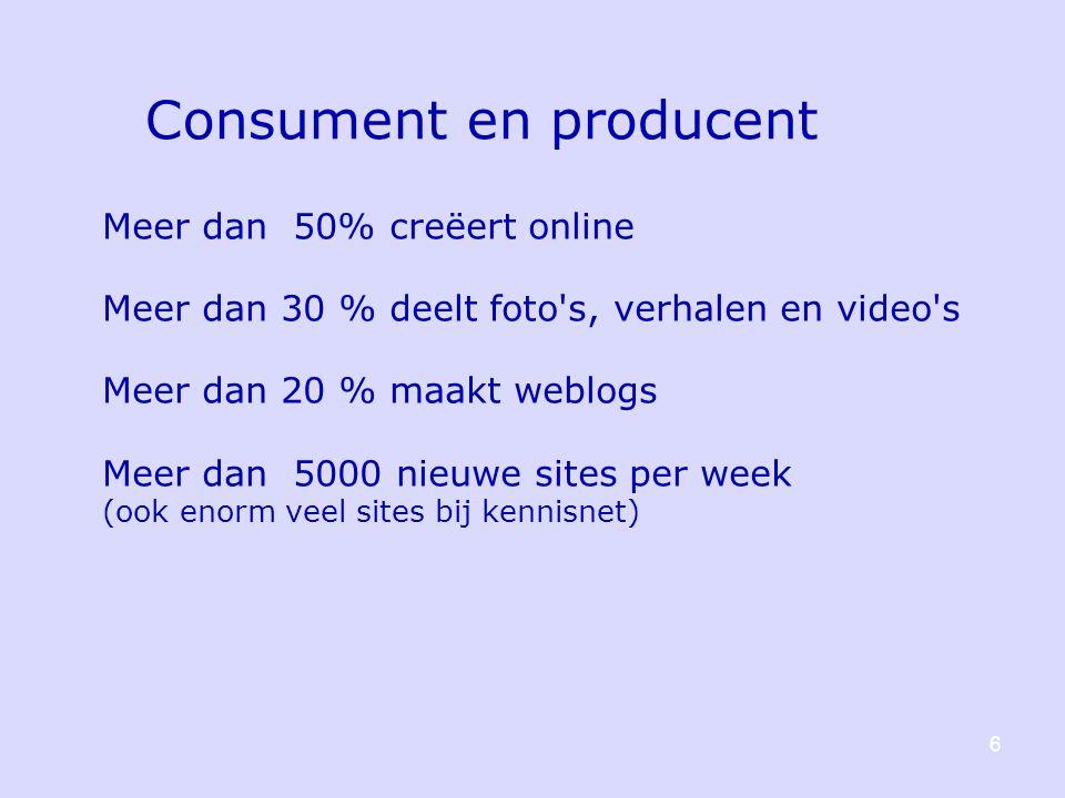6 Consument en producent Meer dan 50% creëert online Meer dan 30 % deelt foto s, verhalen en video s Meer dan 20 % maakt weblogs Meer dan 5000 nieuwe sites per week (ook enorm veel sites bij kennisnet)