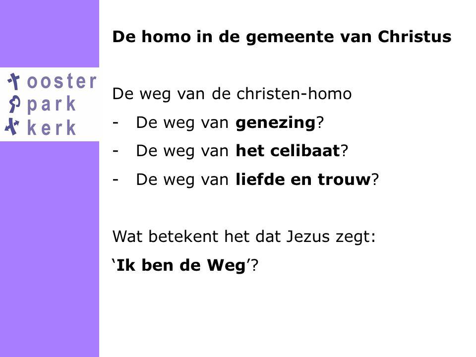 De homo in de gemeente van Christus De weg van de christen-homo -De weg van genezing? -De weg van het celibaat? -De weg van liefde en trouw? Wat betek