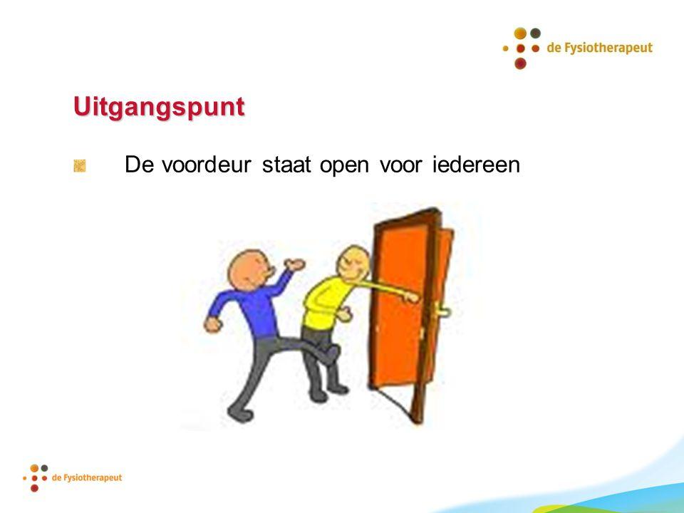 Uitgangspunt De voordeur staat open voor iedereen