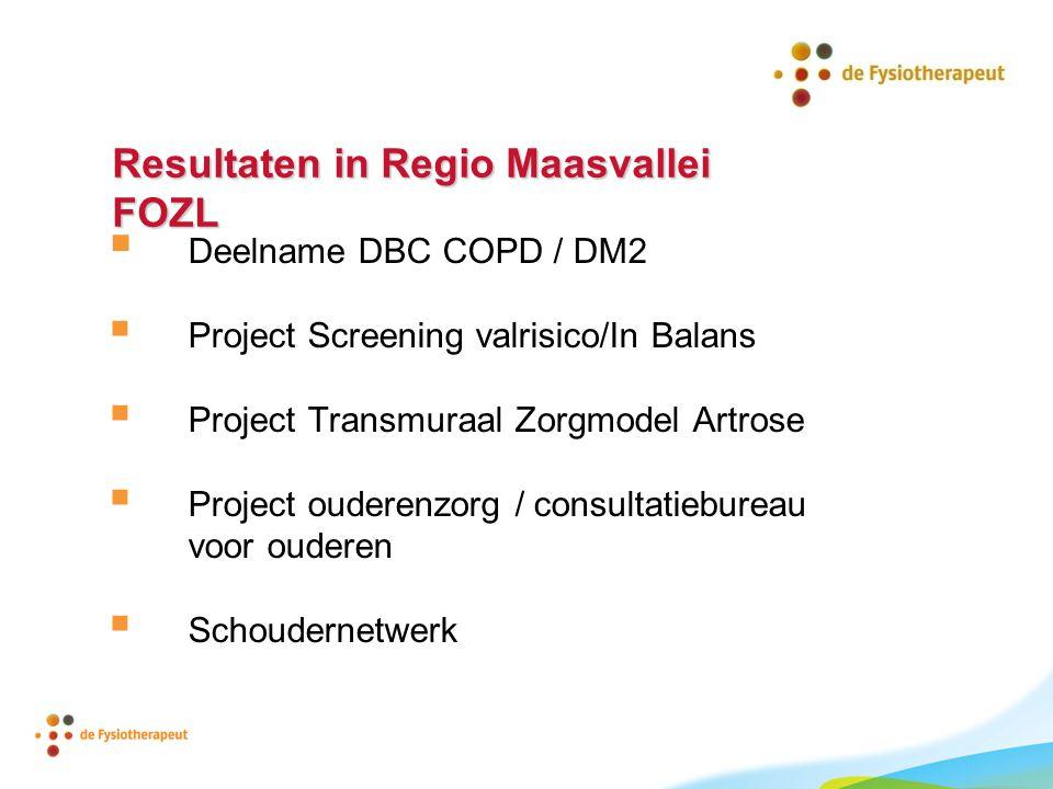 Resultaten in Regio Maasvallei FOZL  Deelname DBC COPD / DM2  Project Screening valrisico/In Balans  Project Transmuraal Zorgmodel Artrose  Projec