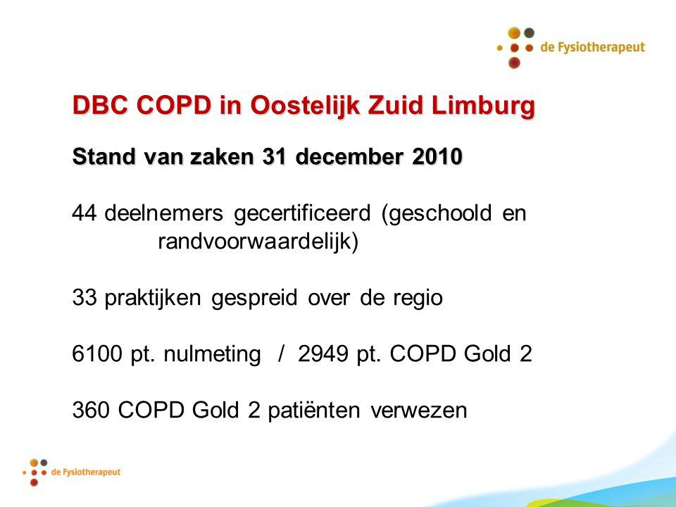 DBC COPD in Oostelijk Zuid Limburg Stand van zaken 31 december 2010 44 deelnemers gecertificeerd (geschoold en randvoorwaardelijk) 33 praktijken gespr
