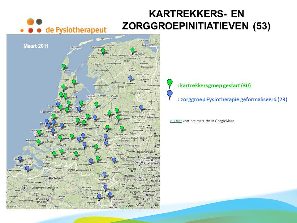 Maart 2011 : kartrekkersgroep gestart (30) : zorggroep Fysiotherapie geformaliseerd (23) klik hierklik hier voor het overzicht in GoogleMaps KARTREKKE