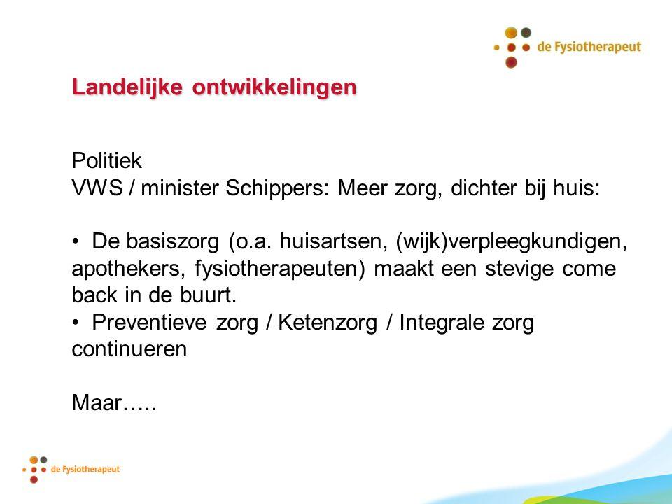 Landelijke ontwikkelingen Politiek VWS / minister Schippers: Meer zorg, dichter bij huis: De basiszorg (o.a. huisartsen, (wijk)verpleegkundigen, apoth