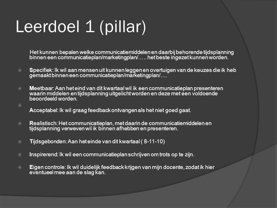 Leerdoel 1 (pillar) Het kunnen bepalen welke communicatiemiddelen en daarbij behorende tijdsplanning binnen een communicatieplan/marketingplan/…..