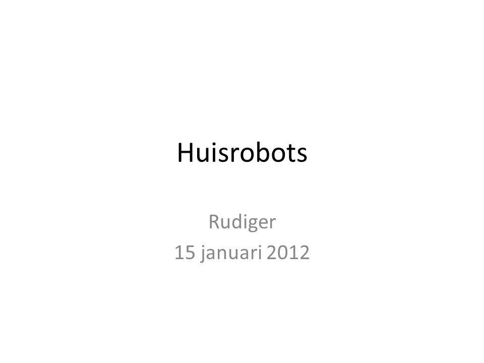 Roomba iRobot Create voor robotexperimenten Meer dan zes millioen eenhedenverkocht Hacking the roomba – http://www.irobot.com//images/consumer/hacke r/Roomba_SCI_Spec_Manual.pdf http://www.irobot.com//images/consumer/hacke r/Roomba_SCI_Spec_Manual.pdf Hoe te openen – http://www.informit.com/articles/article.aspx?p= 474235 http://www.informit.com/articles/article.aspx?p= 474235
