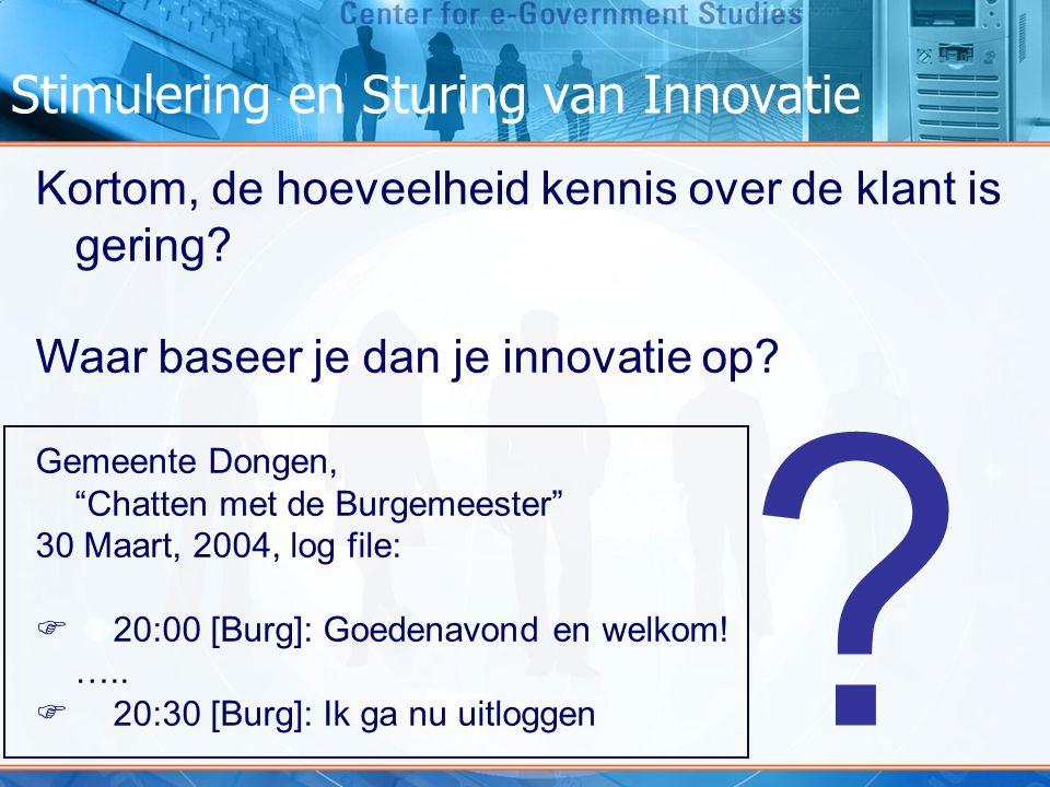 """Stimulering en Sturing van Innovatie Kortom, de hoeveelheid kennis over de klant is gering? Waar baseer je dan je innovatie op? Gemeente Dongen, """"Chat"""