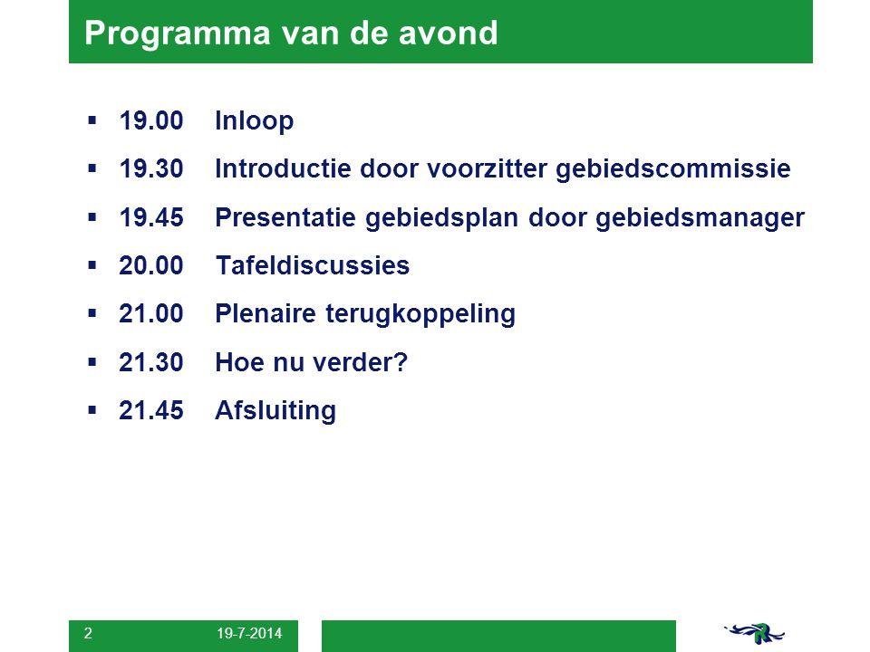 19-7-2014 2 Programma van de avond  19.00Inloop  19.30Introductie door voorzitter gebiedscommissie  19.45Presentatie gebiedsplan door gebiedsmanage