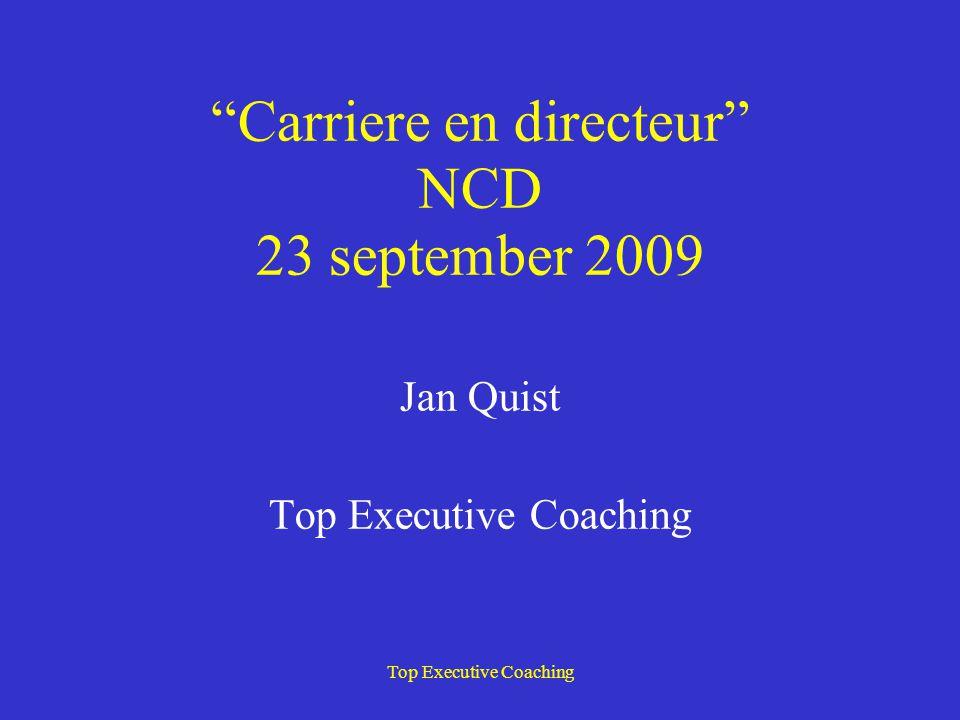 Jan Quist (55) Directeur Top Executive Coaching sinds 1999 TEC biedt coaching aan executives van € 140.000 + Coaching met behulp van ervaren praktijkmensen.