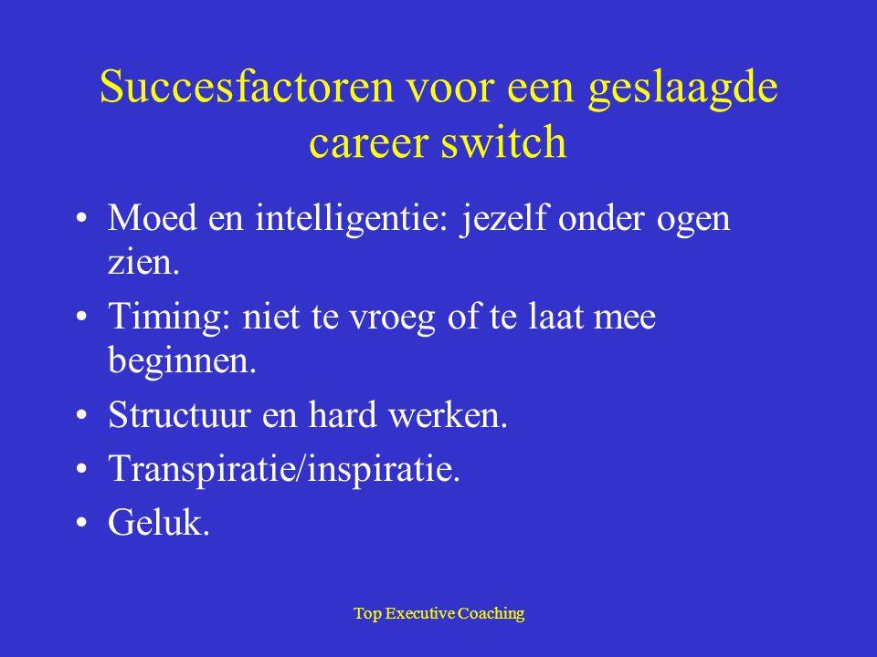 Top Executive Coaching Succesfactoren voor een geslaagde career switch Moed en intelligentie: jezelf onder ogen zien. Timing: niet te vroeg of te laat