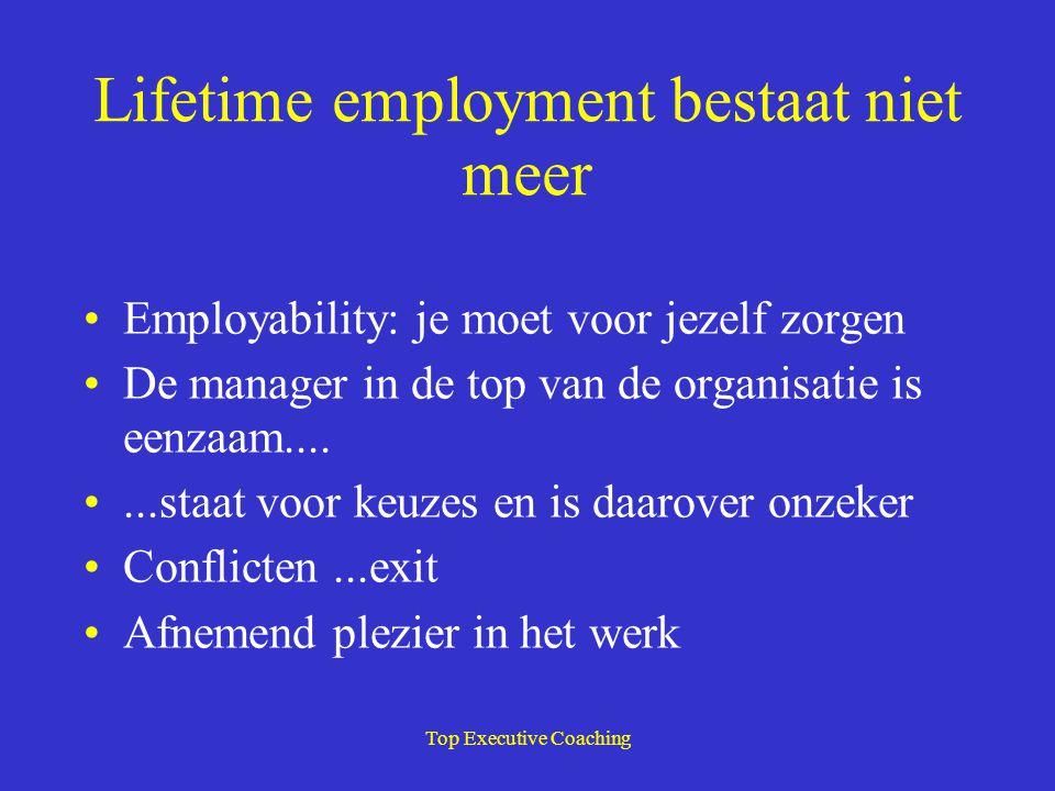 Top Executive Coaching Lifetime employment bestaat niet meer Employability: je moet voor jezelf zorgen De manager in de top van de organisatie is eenz