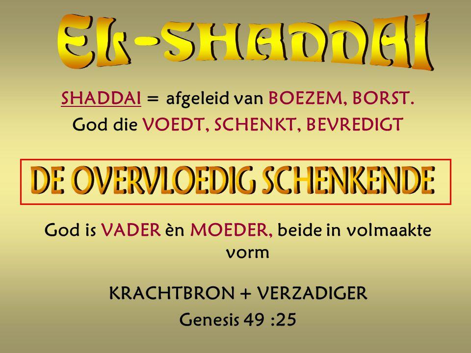 SHADDAI = afgeleid van BOEZEM, BORST.