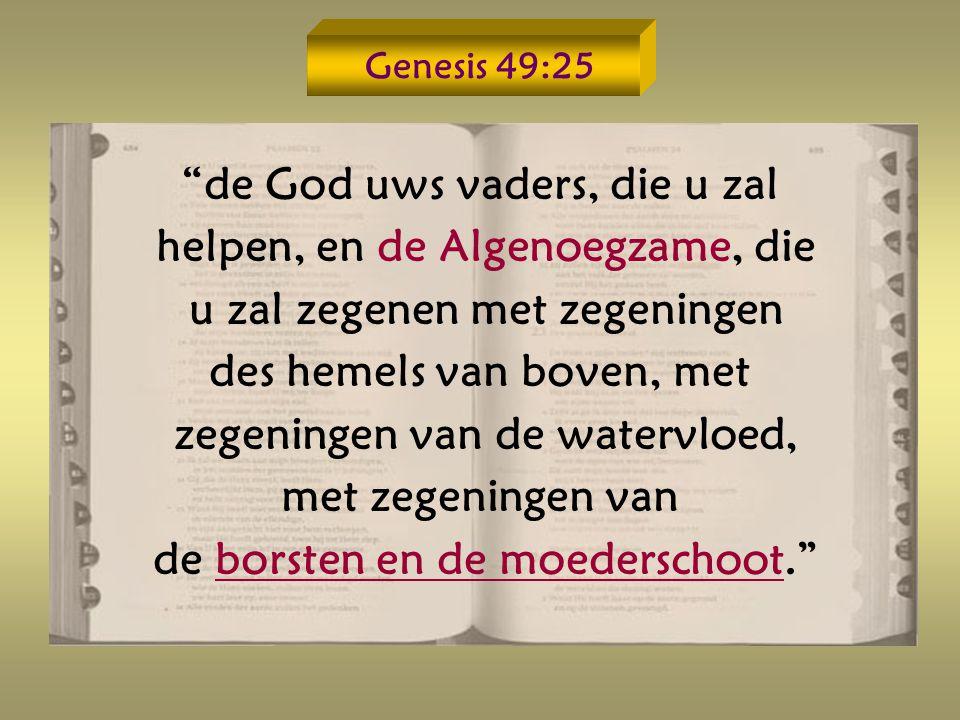de God uws vaders, die u zal helpen, en de Algenoegzame, die u zal zegenen met zegeningen des hemels van boven, met zegeningen van de watervloed, met zegeningen van de borsten en de moederschoot.
