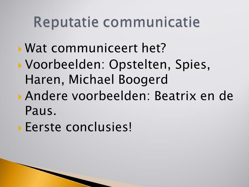  Wat communiceert het?  Voorbeelden: Opstelten, Spies, Haren, Michael Boogerd  Andere voorbeelden: Beatrix en de Paus.  Eerste conclusies!