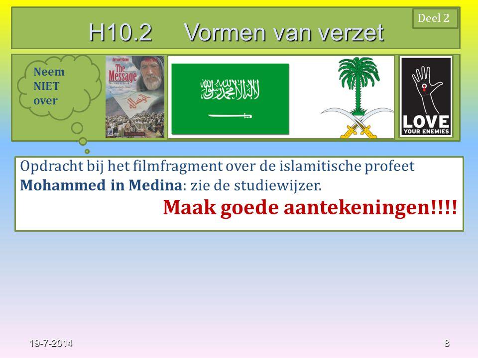 8 Opdracht bij het filmfragment over de islamitische profeet Mohammed in Medina: zie de studiewijzer.