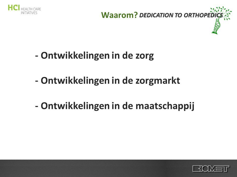 DEDICATION TO ORTHOPEDICS Waarom? - Ontwikkelingen in de zorg - Ontwikkelingen in de zorgmarkt - Ontwikkelingen in de maatschappij