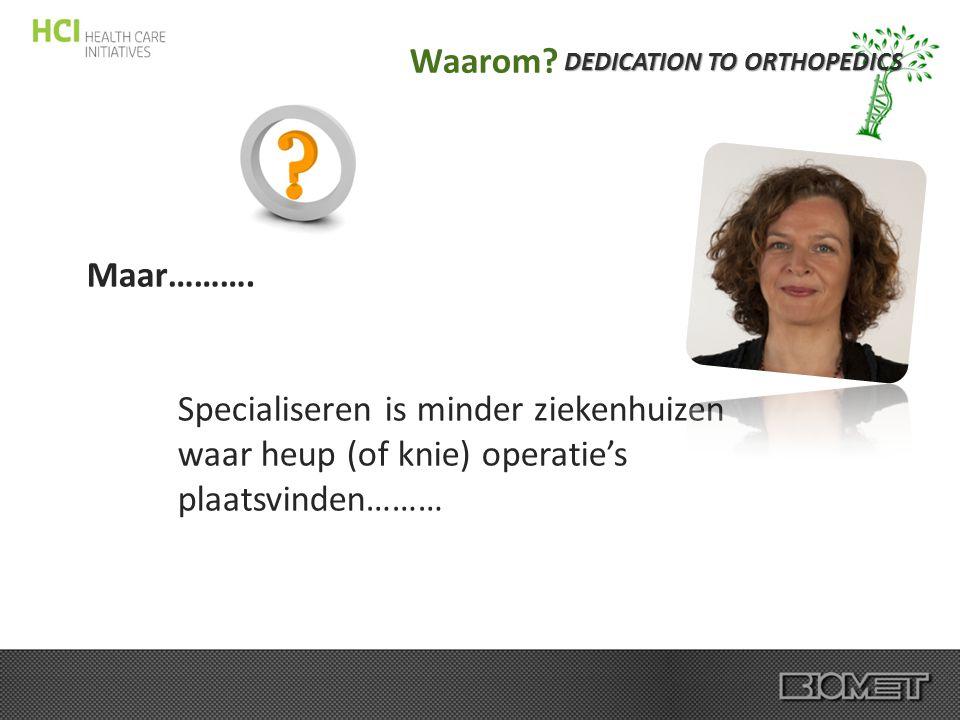 DEDICATION TO ORTHOPEDICS Waarom? Maar………. Specialiseren is minder ziekenhuizen waar heup (of knie) operatie's plaatsvinden………