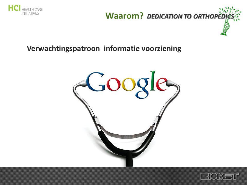 DEDICATION TO ORTHOPEDICS Waarom? Verwachtingspatroon informatie voorziening