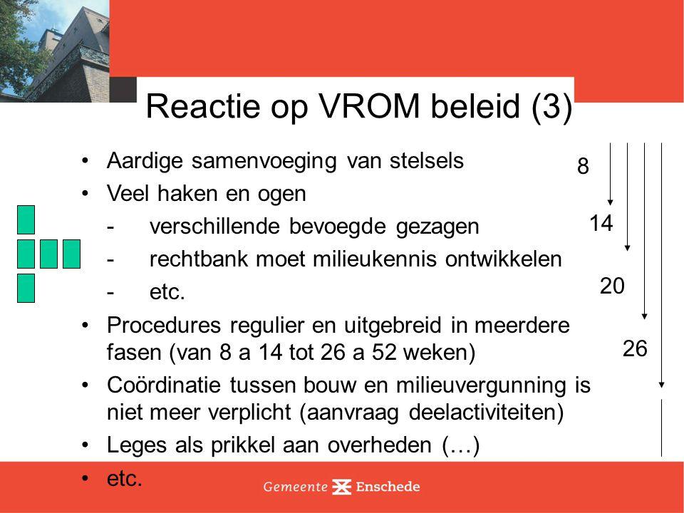 Reactie op VROM beleid (4) Nieuwe VROM regels zijn mooie aanleiding om verbetering tot stand te brengen.