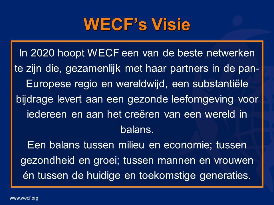 www.wecf.org WECF's Visie In 2020 hoopt WECF een van de beste netwerken te zijn die, gezamenlijk met haar partners in de pan- Europese regio en wereldwijd, een substantiële bijdrage levert aan een gezonde leefomgeving voor iedereen en aan het creëren van een wereld in balans.