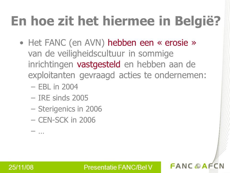 25/11/08 Presentatie FANC/Bel V En hoe zit het hiermee in België? Het FANC (en AVN) hebben een « erosie » van de veiligheidscultuur in sommige inricht