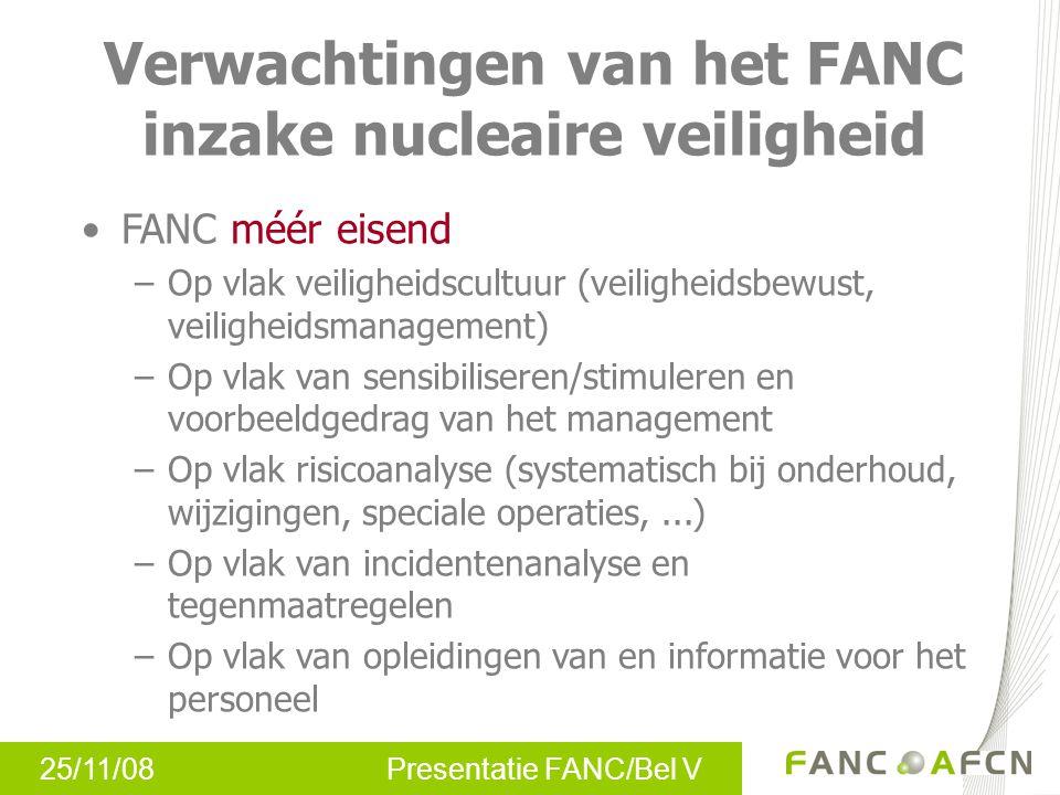 25/11/08 Presentatie FANC/Bel V Verwachtingen van het FANC inzake nucleaire veiligheid FANC méér eisend –Op vlak veiligheidscultuur (veiligheidsbewust
