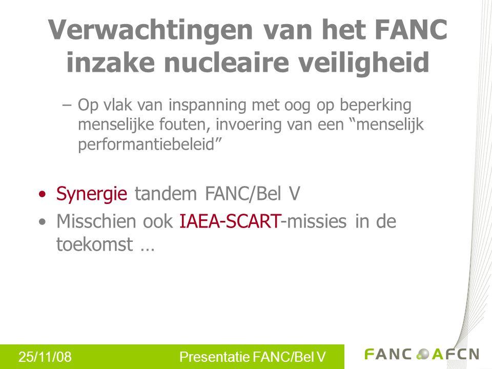 25/11/08 Presentatie FANC/Bel V Verwachtingen van het FANC inzake nucleaire veiligheid –Op vlak van inspanning met oog op beperking menselijke fouten,