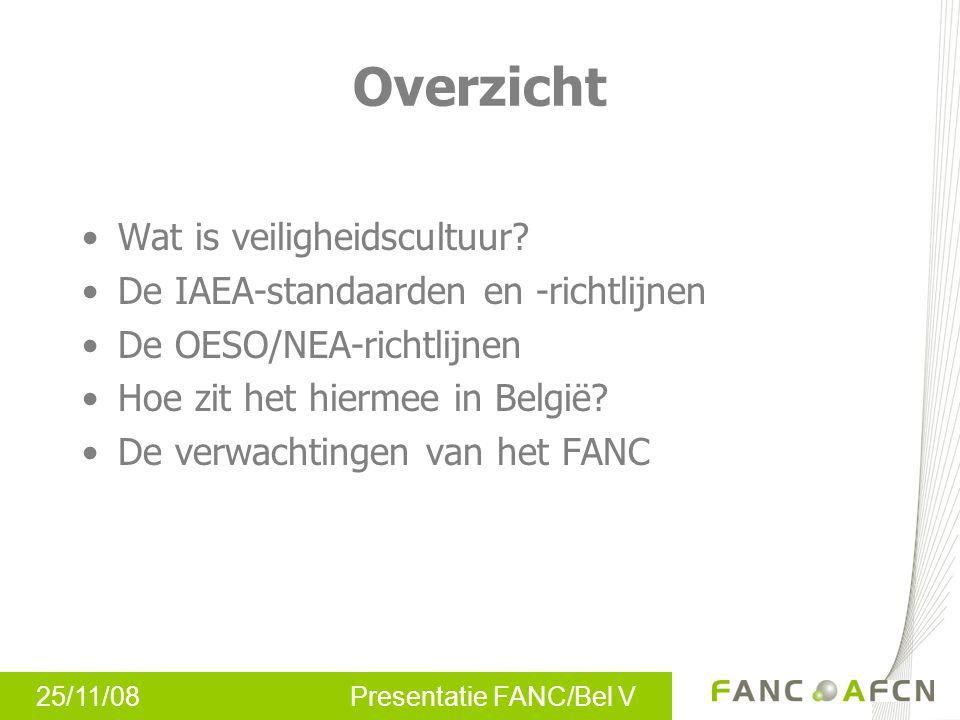 25/11/08 Presentatie FANC/Bel V Overzicht Wat is veiligheidscultuur? De IAEA-standaarden en -richtlijnen De OESO/NEA-richtlijnen Hoe zit het hiermee i