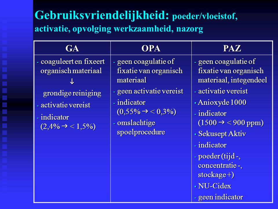 GAOPAPAZ - coaguleert en fixeert organisch materiaal  grondige reiniging - activatie vereist - indicator (2,4%  < 1,5%) - geen coagulatie of fixatie