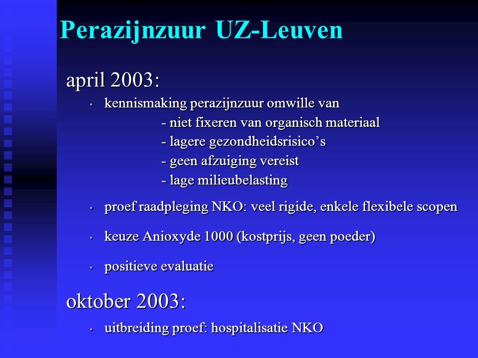 april 2003: kennismaking perazijnzuur omwille van kennismaking perazijnzuur omwille van - niet fixeren van organisch materiaal - lagere gezondheidsris