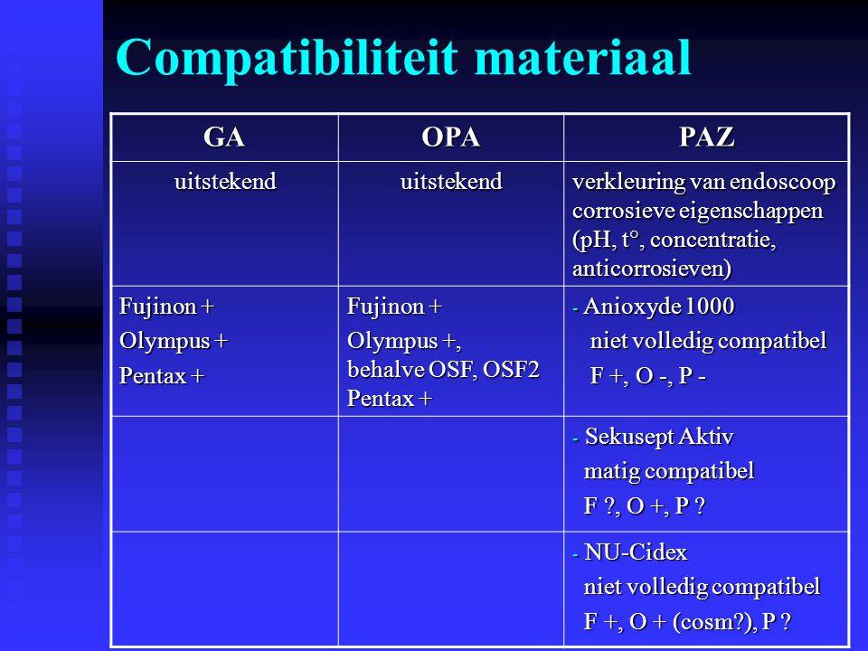 Compatibiliteit materiaal GAOPAPAZ uitstekenduitstekend verkleuring van endoscoop corrosieve eigenschappen (pH, t°, concentratie, anticorrosieven) Fuj