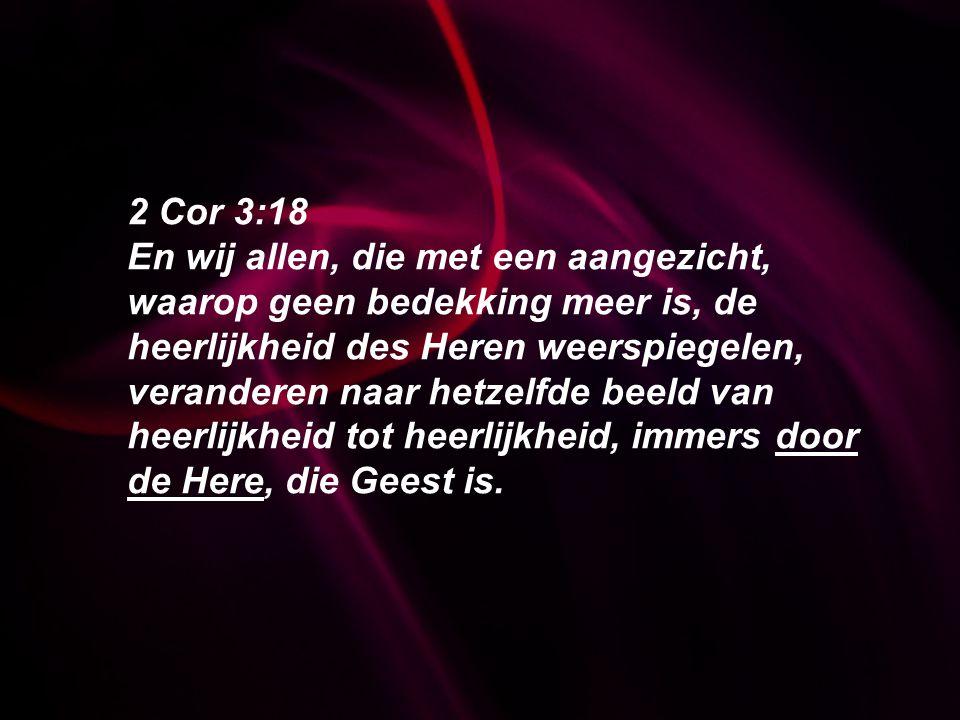 2 Cor 3:18 En wij allen, die met een aangezicht, waarop geen bedekking meer is, de heerlijkheid des Heren weerspiegelen, veranderen naar hetzelfde bee