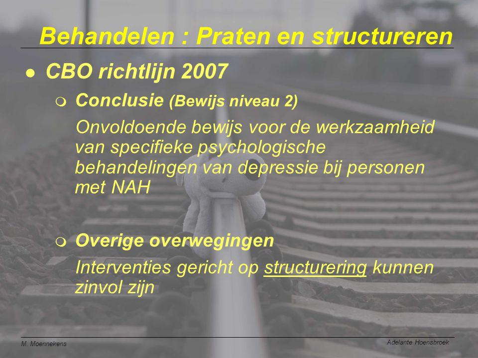M. Moennekens Adelante Hoensbroek Behandelen : Praten en structureren l CBO richtlijn 2007 m Conclusie (Bewijs niveau 2) Onvoldoende bewijs voor de we