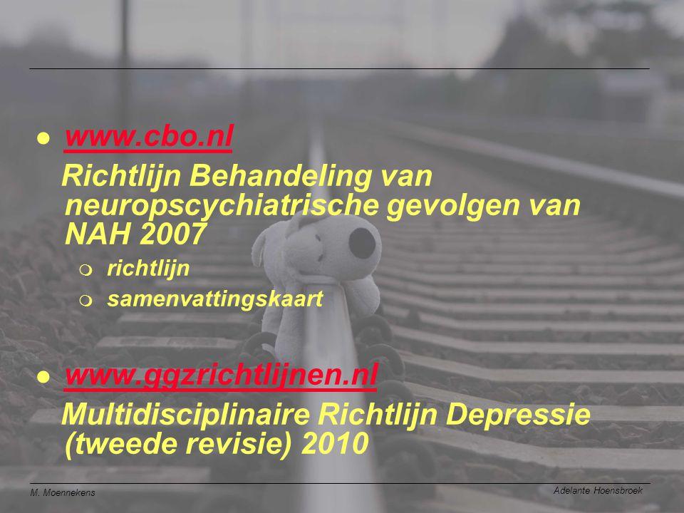 M. Moennekens Adelante Hoensbroek l www.cbo.nl www.cbo.nl Richtlijn Behandeling van neuropscychiatrische gevolgen van NAH 2007 m richtlijn m samenvatt