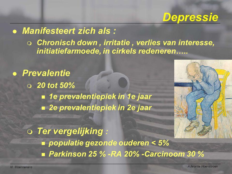 M. Moennekens Adelante Hoensbroek Depressie l Manifesteert zich als : m Chronisch down, irritatie, verlies van interesse, initiatiefarmoede, in cirkel