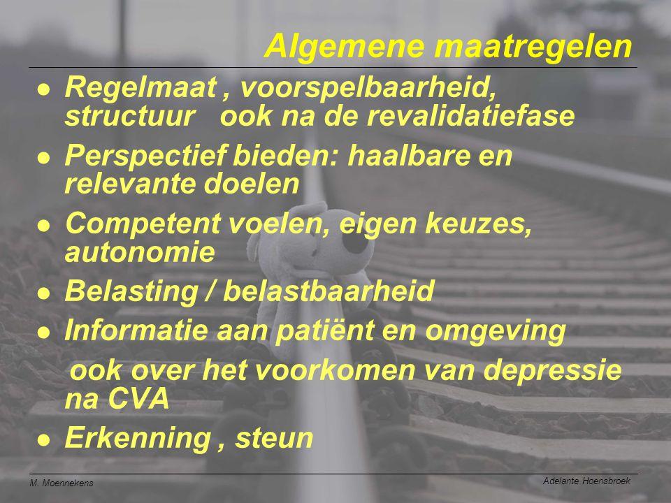 M. Moennekens Adelante Hoensbroek Algemene maatregelen l Regelmaat, voorspelbaarheid, structuur ook na de revalidatiefase l Perspectief bieden: haalba