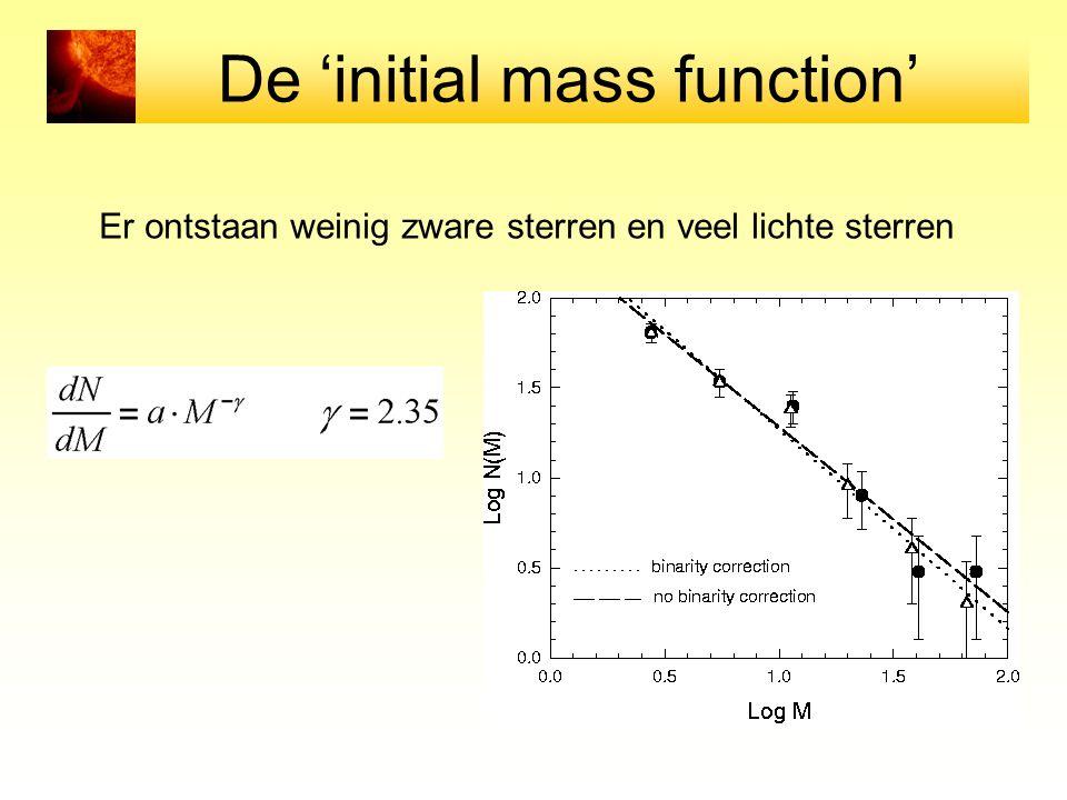 De 'initial mass function' Er ontstaan weinig zware sterren en veel lichte sterren