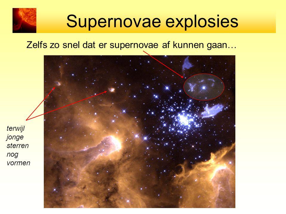Supernovae explosies Zelfs zo snel dat er supernovae af kunnen gaan… terwijl jonge sterren nog vormen