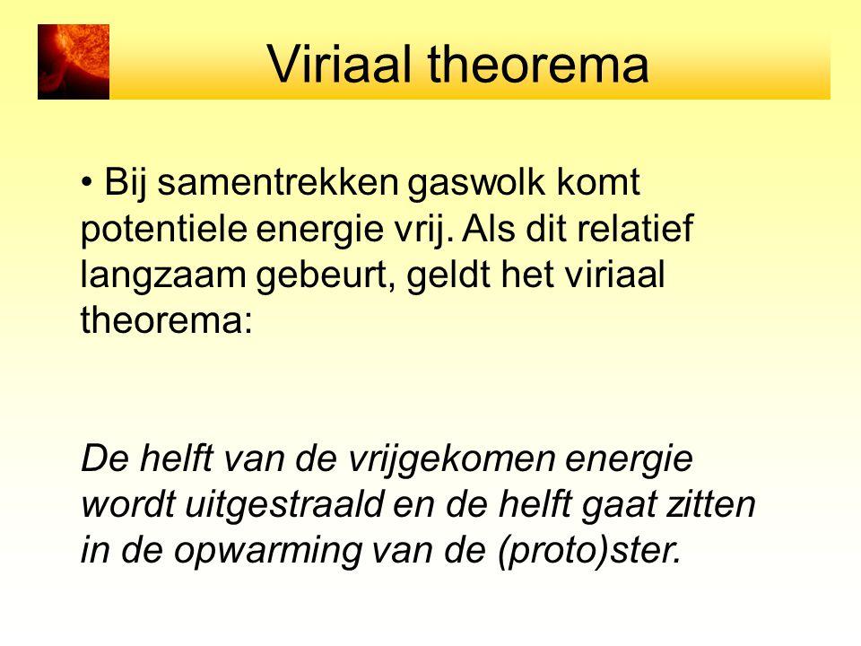 Viriaal theorema Bij samentrekken gaswolk komt potentiele energie vrij. Als dit relatief langzaam gebeurt, geldt het viriaal theorema: De helft van de