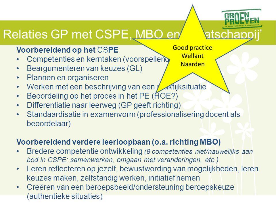 Relaties GP met CSPE, MBO en 'maatschappij' Voorbereidend op het CSPE Competenties en kerntaken (voorspellende waarde) Beargumenteren van keuzes (GL)