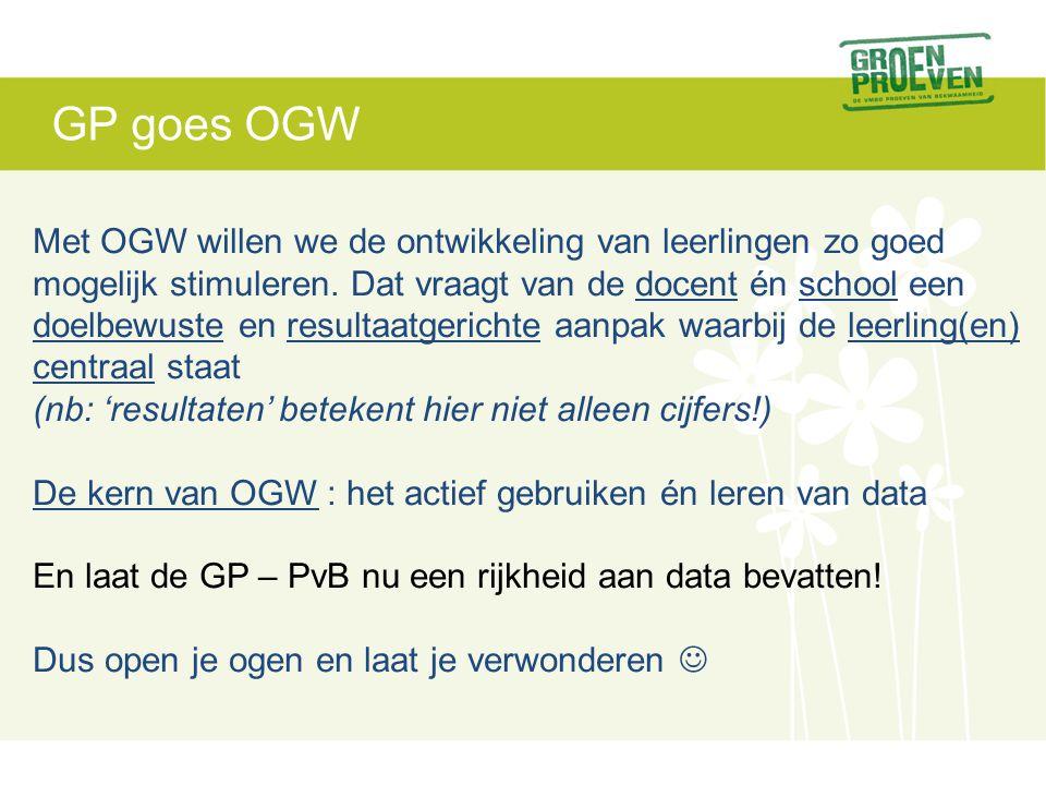 GP goes OGW Met OGW willen we de ontwikkeling van leerlingen zo goed mogelijk stimuleren. Dat vraagt van de docent én school een doelbewuste en result