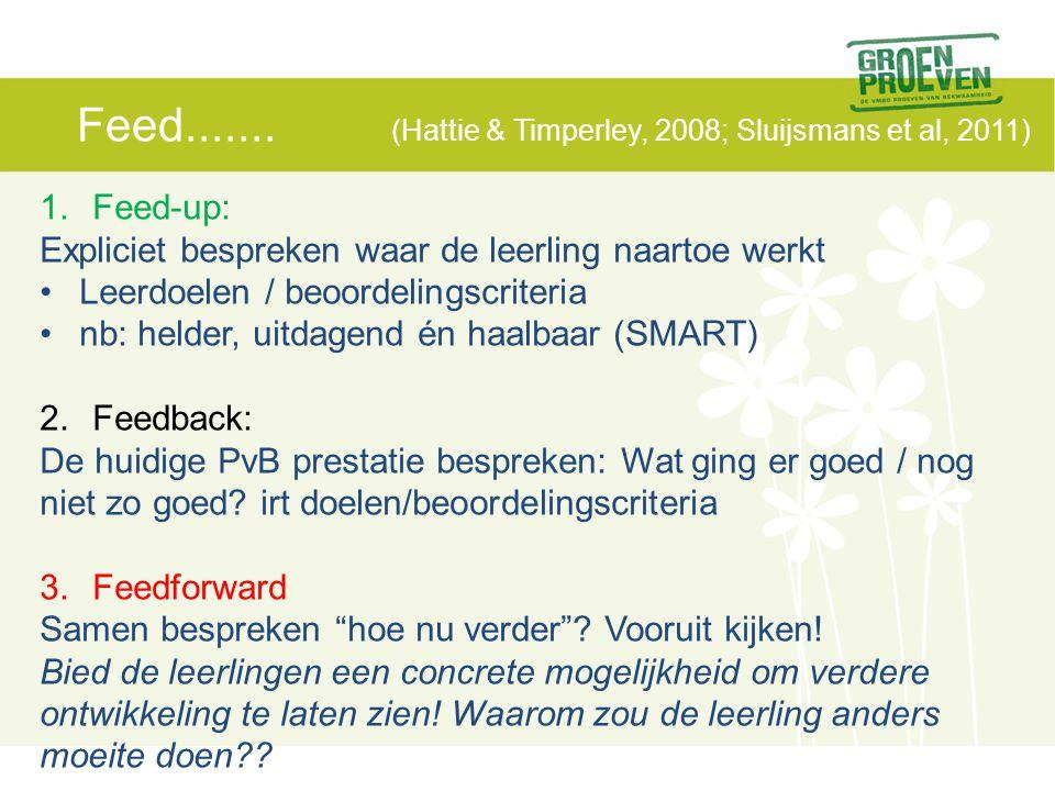 Feed....... (Hattie & Timperley, 2008; Sluijsmans et al, 2011) 1.Feed-up: Expliciet bespreken waar de leerling naartoe werkt Leerdoelen / beoordelings