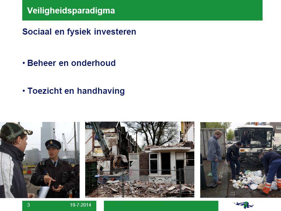 Veiligheidsparadigma Sociaal en fysiek investeren Beheer en onderhoud Toezicht en handhaving 19-7-2014 3