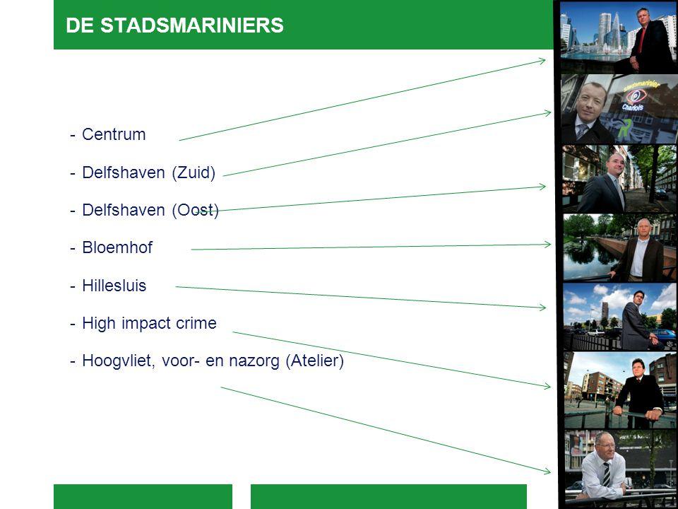 DE STADSMARINIERS -Centrum -Delfshaven (Zuid) -Delfshaven (Oost) -Bloemhof -Hillesluis -High impact crime -Hoogvliet, voor- en nazorg (Atelier)