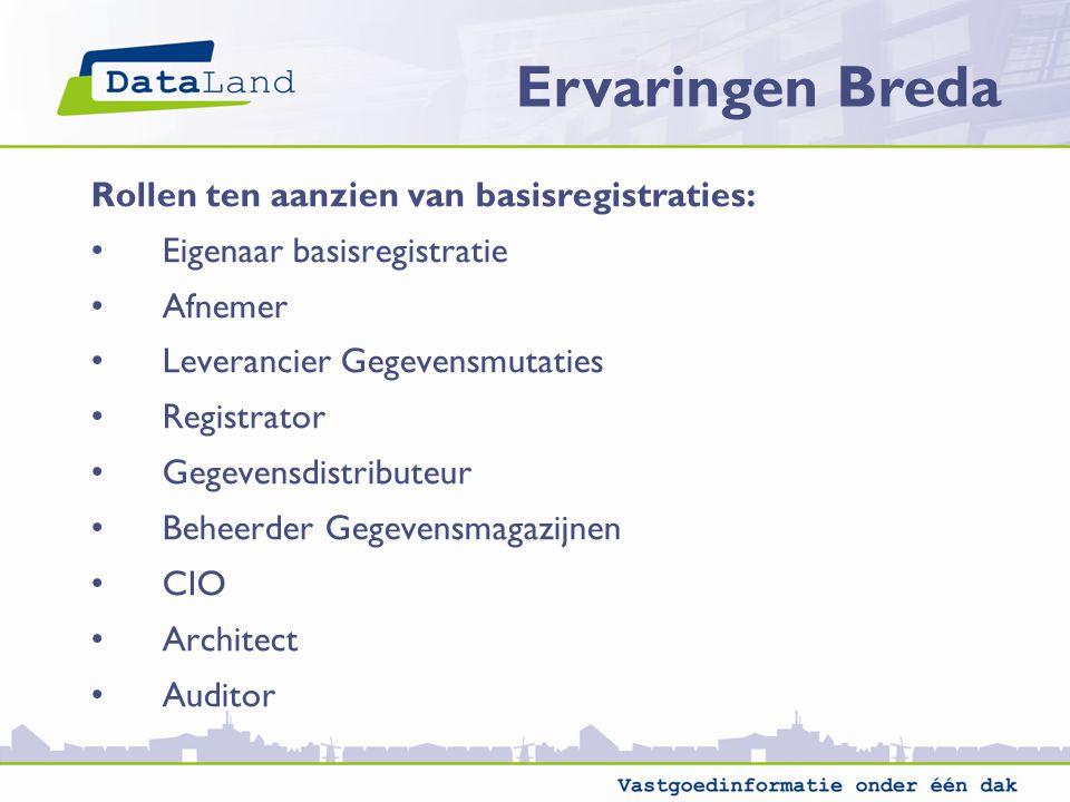 Ervaringen Breda Rollen ten aanzien van basisregistraties: Eigenaar basisregistratie Afnemer Leverancier Gegevensmutaties Registrator Gegevensdistribu