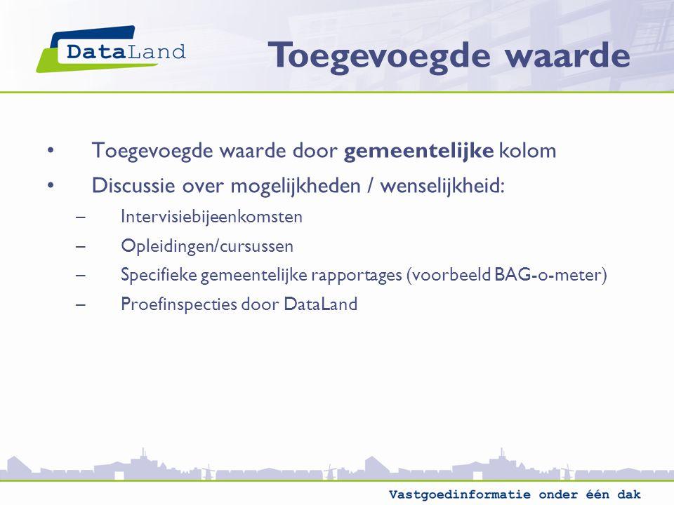 Toegevoegde waarde door gemeentelijke kolom Discussie over mogelijkheden / wenselijkheid: –Intervisiebijeenkomsten –Opleidingen/cursussen –Specifieke