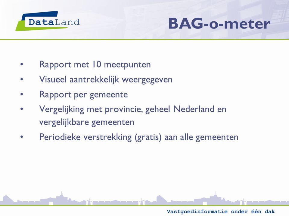 Rapport met 10 meetpunten Visueel aantrekkelijk weergegeven Rapport per gemeente Vergelijking met provincie, geheel Nederland en vergelijkbare gemeenten Periodieke verstrekking (gratis) aan alle gemeenten BAG-o-meter