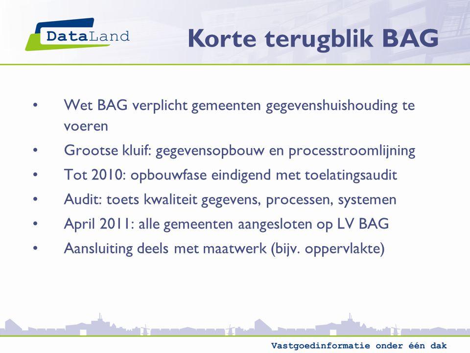 Wet BAG verplicht gemeenten gegevenshuishouding te voeren Grootse kluif: gegevensopbouw en processtroomlijning Tot 2010: opbouwfase eindigend met toel