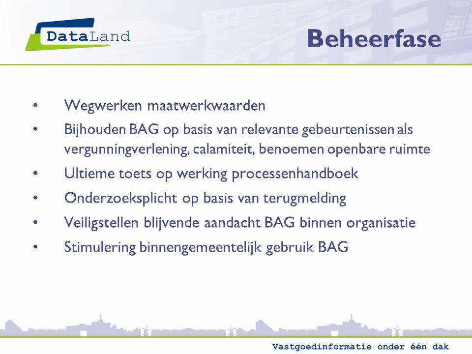 Wegwerken maatwerkwaarden Bijhouden BAG op basis van relevante gebeurtenissen als vergunningverlening, calamiteit, benoemen openbare ruimte Ultieme toets op werking processenhandboek Onderzoeksplicht op basis van terugmelding Veiligstellen blijvende aandacht BAG binnen organisatie Stimulering binnengemeentelijk gebruik BAG Beheerfase